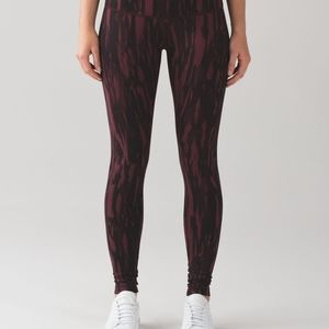 Lululemon Wunder Under Pants 4 Bordeaux Animal